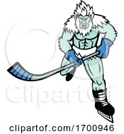 Abominable Snowman Ice Hockey Player Mascot by patrimonio