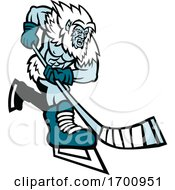 Yeti Ice Hockey Player Mascot