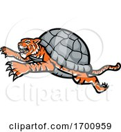 Turtle Tiger Leaping Side Mascot by patrimonio