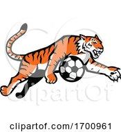 Tiger Jumping Soccer Ball Mascot by patrimonio
