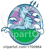 Seahorse With Trident Mascot Oval by patrimonio