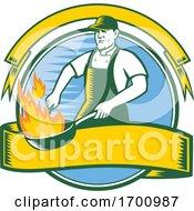 Poster, Art Print Of Chef-Flaming-Pan-Cooking-Circ