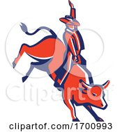 Red Rodeo Cowboy Bull Rider Retro