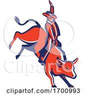 Red Rodeo Cowboy Bull Rider Retro by patrimonio