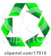 Three Green Arrows Forming The Shape Of A Triangle And Flowing In A Clockwise Motion Symbolizing Renewable Energy And Recycling Clipart Illustration
