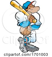 Cartoon Confident Black Male Baseball Player Holding A Bat