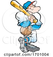 Cartoon Confident White Male Baseball Player Holding A Bat