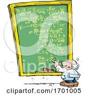 Cartoon Professor Doing A Complex Calculation On A Chalkboard