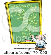 Cartoon Professor Doing A Complex Calculation On A Chalkboard