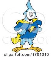 Cartoon Super Hero Jay Bird Mascot