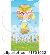 Poster, Art Print Of Easter Spring Chick In A Hot Air Balloon