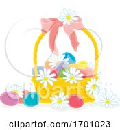 Easter Basket With Eggs And Daisies