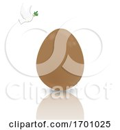 Easter Chocolate Egg With Reflection And Dove