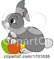 Poster, Art Print Of Cartoon Easter Bunny And Eggs