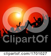 Poster, Art Print Of Silhouette Festival Event Crowd In Red