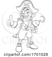 Pirate Captain Cartoon Black And White Outline