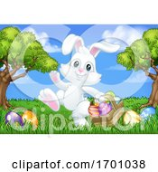 Easter Bunny Rabbit Eggs Basket Background Cartoon