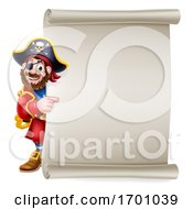 Pirate Captain Cartoon Scroll Sign Background