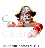 Pirate Captain Cartoon Pointing Sign Background