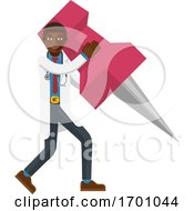 Black Doctor Man Holding Thumb Tack Pin Mascot