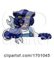 Panther Plumber Or Mechanic Holding Spanner