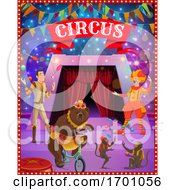 Circus Tent Arena Clown Juggler Bear Monkeys by Vector Tradition SM
