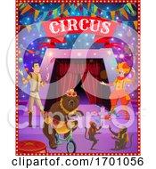 Circus Tent Arena Clown Juggler Bear Monkeys