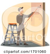 Happy Male Worker Painting A Wall