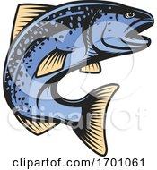 Jumping Blue Salmon Fish