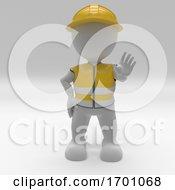 Poster, Art Print Of 3d Morph Man Builder With Hazard Cones