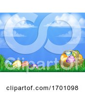Poster, Art Print Of Easter Eggs Basket Background