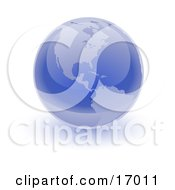 Blue Shiny Marble Of The American Continents Of The Planet Earth Clipart Illustration by Leo Blanchette