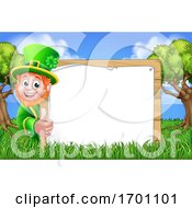 Leprechaun Sign St Patricks Day Cartoon Scene