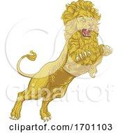 Lion Attacking Illustration