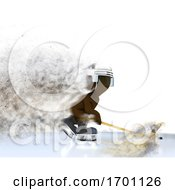 3D Figure Playing Ice Hockey With Speed Effect