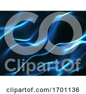 3D Abstract Background With Cyber Dots Network Communications Motion Flow