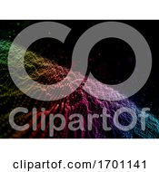 3D Cyber Dots Abstract Background With Rainbow Coloured Flowing Particles