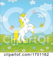 Cute Rearing Unicorn And Spring Butterflies