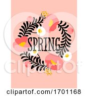 Poster, Art Print Of Vector Illustration Of Abstract Floral Card With Elegant Flower And Spring Lettering Pastel Color Greeting Card Banner Cover Design Template Or Social Media Story Wallpaper With Stylish Blossoming Plant