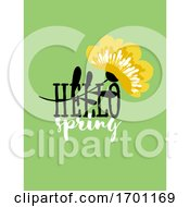 Vector Illustration of Abstract Floral Card with Elegant Flower and Spring Lettering Pastel Color Greeting Card Banner Cover Design Template or Social Media Story Wallpaper with Stylish Blossoming Plant by elena #COLLC1701169-0147