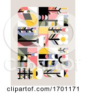 Poster, Art Print Of Vector Illustration In Simple Flat Geometric Style Of Abstract Floral Card With Cute Flowers And Herbs And Spring Lettering Pastel Color Greeting Card Banner Cover Design Template Or Social Media Story Wallpaper With Naive Blossoming Plants