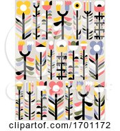 Poster, Art Print Of Vector Seamless Pattern In Simple Flat Geometric Style Of Abstract Floral Card With Cute Flowers And Herbs Pastel Color Greeting Card Banner Orwallpaper With Naive Blossoming Plants