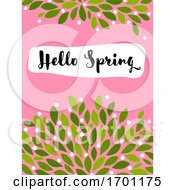 Vector Illustration In Simple Flat Style Of Abstract Floral Card With Cute Blossoming Bush And Hello Spring Lettering Pastel Color Greeting Card Banner Cover Design Template Or Social Media Story Wallpaper With Elegant Flowers And Leaves by elena