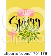 Vector Illustration In Simple Flat Style Of Abstract Floral Card With Cute Blossoming Bush And Hello Spring Lettering Pastel Color Greeting Card Banner Cover Design Template Or Social Media Story Wallpaper With Elegant Flowers And Leaves