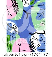 Vector Illustration In Simple Flat Style Of Abstract Foliage Background With Tropical Leaves And Copy Space For Text Pastel Color Banner Flyer Cover Design Template Or Social Media Story Wallpaper With Exotic Plants Editable Stroke