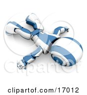 Blue And White Robot Robot Lying Face Down On The Floor Symbolizing Giving Up Low Batteries Exhaustion Or Failure Clipart Illustration