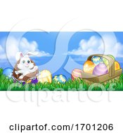 Easter Bunny Rabbit Breaking Chocolate Egg Scene