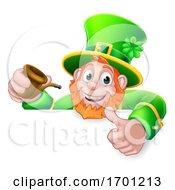 Poster, Art Print Of Leprechaun St Patricks Day Thumbs Up Cartoon