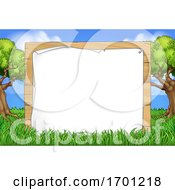 Cartoon Background Wooden Sign Park Forest