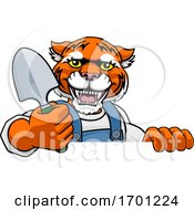 Poster, Art Print Of Tiger Gardener Gardening Animal Mascot